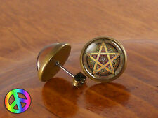 Wicca Wiccan Pagan Witchcraft Pentagram Fashion Earrings Studs Jewelry Art Gift