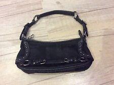 Authentic ROBERTO CAVALLI Black Monogram Textile & Leather Shoulderbag