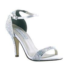 Dyeable White Satin AB Rhinestone Rena High Heel Bridal Sandal Wedding Shoes