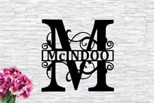 Fancy Scroll Monogram Front Door Sign Door Wreath Hanger Monogram Last Name Wood