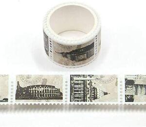 Washi-Klebeband mit berühmten Landmarken Architektur, 25 mm x 3 m