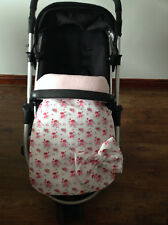 stay put blanket pink ditsy print floral Pram buggy pushchair cotton fleece bow