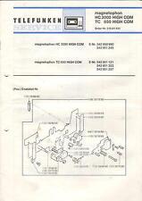 Telefunken Service Anleitung Manual Magnetophon HC 3000 TC 650 HIGH COM B503