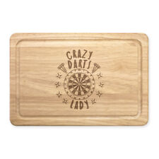Crazy Darts Lady Stars Rectangular Wooden Chopping Board - Funny Mothers Day Mum