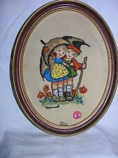Vintage Hummel Embroidered Pictures Lot of 2 Designs Needlepoint Art