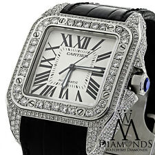 LUXURY DIAMOND CARTIER SANTOS 100 AUTOMATIC WATCH LARGER 10CT NATURAL DIAMOND