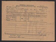 India GONDAL RAILWAY TELEGRAM to the Maharaja of Gondal