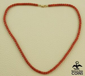 18k Yellow Gold & Red Coral Bead Necklace
