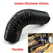 Black 1m 63mm Flexible Cold Air Intake Hose Ducting Feed Pipe For Car Air Filter
