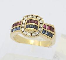 Ring in aus 750er 18 kt Gelb Gold mit Rubin Saphir Diamant Brillant Brillanten