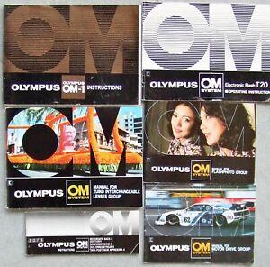 OLYMPUS OM-1, T20 FLASH, MOTOR DRIVE, LENSES, FLASH & DATA BACK INSTRUCTIONS