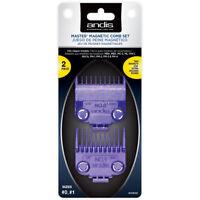 Andis Pro 2 Piece Nano-Silver Magnetic Clipper Comb Set Guide Attachments 01900