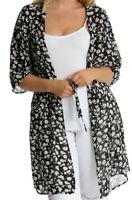 New Plus Size Ladies Belted Chiffon Tie Front Floral Print Long Kimono Top 14-28