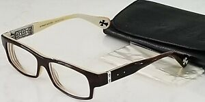AUTHENTIC Chrome Hearts SHOOTER Eyeglasses 57/16-136 Brown Tortoise White JAPAN