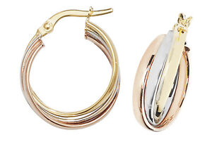 9ct Yellow Gold 375 Hoop Ladies Three Colour Earrings 17MM 2.31gr NEW