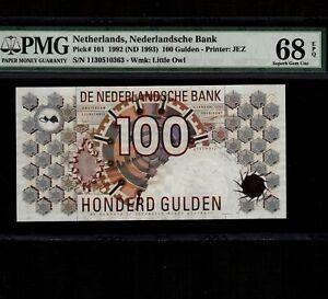 Netherlands 100 Gulden 1992(1993) P-101 * PMG Superb Gem Unc 68 EPQ * Rare *