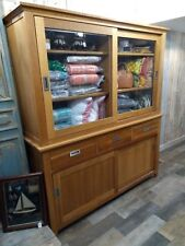 Solid oak dresser / sideboard with glass sliding and wooden doors