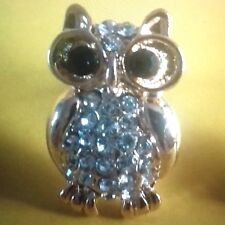 Owls Stud Earrings Silver or Gold Plated With Cubic Zirconia Brand New
