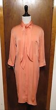 Rochas Salmon Pink Button Front Pussy Bow Neck Tie Tunic Dress Sz 40