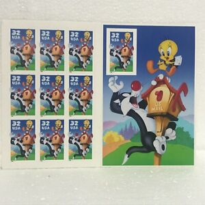 1998 Sylvester & Tweety Bird 32 Cent Stamps USPS Sheet of 10