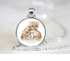 Spotted Leopard Cubs PENDANT NECKLACE Chain Glass Tibet Silver Jewellery