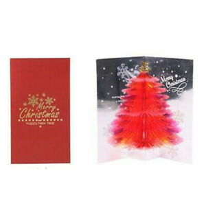 3D Pop-Up Christmas Greeting Cards Tree Handmade Holiday Xmas Card with Envelope