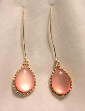"""Earrings Peach Acrylic Teardrop On Marquis Earwire 3"""""""