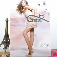 Collant Femme Lycra 20 Deniers T 3 Beige Couture Jambe Slip Dentelle SHERRY ANN