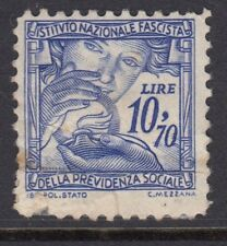 ITALIAN REVENUES : 1941 National Insurance 10L70 blue  BFT 306 used