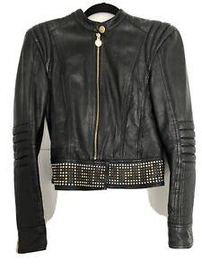 Versace Lederjacke for H&M Gr.36 Lammnappa Schwarz goldene Nieten