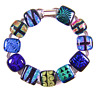 "DICHROIC Link Bracelet Blue Green Gold Rainbow Fused Glass Patterned .5"" X 7.5"""