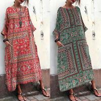 ZANZEA Women Summer Retro Floral Kaftan Caftan Club Party Beach Long Maxi Dress