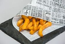50 Sheets Greaseproof Paper Newspaper Design Printed Chips Takeaways 250x375mm
