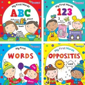 4 x First Words Books ABC 123 WORDS OPPOSITES Hardback Early Reading Educational