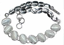 Moonstone Cats Eye Sterling 925 Argento Bracciale autentico GEMS BIRTHSTONE gioielli