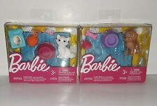 Barbie Loves Pets Accessories Lot of 2 White Kitty Cat & Brown Puppy Dog NIB