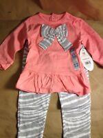 BON BEBE Baby Girls' 2 Piece Dress and Legging Set, Zebra bow, 12 months