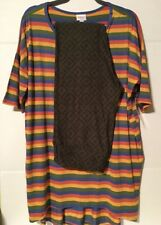 NWT Lularoe Outfit Large Striped Irma TC Leggings, Green/Black/Blue Diamond