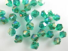 50pcs Peacock Green AB Glass Crystal Faceted Bicone Beads 6mm Spacer Findings