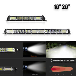 "10/20"" Slim LED Work Light Bar Dual Row Flood Spot Combo Offroad SUV ATV Fog UTV"