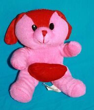 "Kellytoy Valentines Day Dog 6"" Pink Red Heart Ears Plush Stuffed Animal Soft Toy"