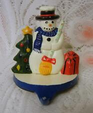 Colorful Painted Cast Iron Christmas Snowman Stocking Holder Hanger Mantle Shelf