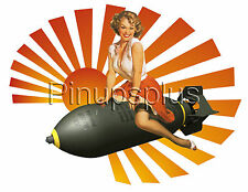 Vintage Style Bomber Art pinup Pin-up girl Waterslide Decal S276