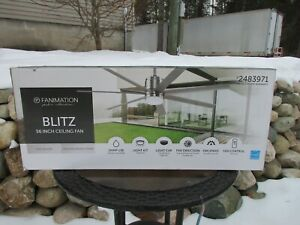 Fanimation Blitz Brushed Nickel 56-in LED Indoor/Outdoor Ceiling Fan Remote