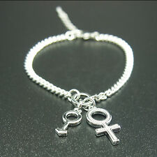 18k White Gold Plated Sex Symbol Men Women Unisex Bangle Bracelet