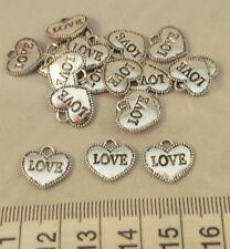 20 x  Silver Tone Love Heart Charms Pendants 23mm x 12mm Jewellery Making Craft