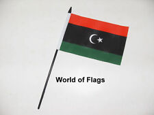 "KINGDOM of LIBYA SMALL HAND WAVING FLAG 6"" x 4"" Libyan Table Desk Crafts Display"