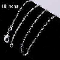 """5pcs Stunning 925 Sterling Silver Plated Snake Chain Necklace 1mm 18"""" Rolo Chain"""