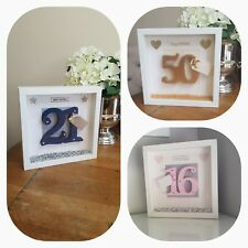 Special Birthday Personalised Deep Box Frame - Any Age - Unique Handmade Gift