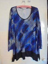 LADIES VIRTUELLE TS TOP BLACK NAVY BLUE LONG SLEEVES ROUND NECK SIZE L